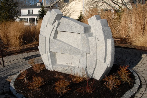 "Among the sculpture created during a Schoodic International Sculpture Symposium is ""Bar Harbor Tension,"" sculpted by Songul Telek of Turkey and placed at Baxter Park in Bar Harbor. The 2012 SISS will take place July 22-Aug. 31 at the University of Maine."
