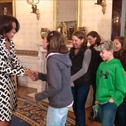 Michelle Obama meets the Benner family, of Cushing, Maine, in the White House.