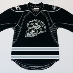 A mockup of a Portland Pirates hockey jersey sporting a 20th anniversary logo by design students at the Maine College of Art, unveiled Monday, Feb. 27, 2012, at a press conference in Portland.