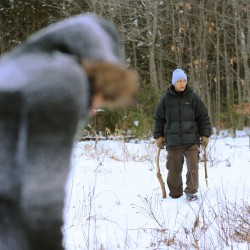 Jerry Perdomo Sr. (right), along with his daughter Skye Ramos search part of the wooded area along the former Bangor landfill on Saturday, Feb. 25, 2012. Looking for Jerry Perdomo Jr. who dissapeared Feb. 16, 2012.