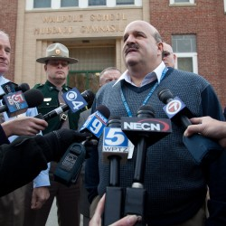 Walpole Elementary School Principal Samuel Jacobs speaks to members of the media outside his school where a 14-year-old male student shot himself in front of many classmates in the school's cafeteria in Walpole, N.H., on Friday, Feb. 10, 2012. Police are investigating the shooting, which they say was self-inflicted.
