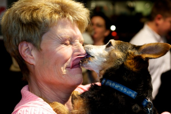 Lin Walton and Beau share a wet one after winning Planet Dog's eighth annual pooch smooching contest in Portland Wednesday night February 15, 2012 with a 59-second kiss. The pair were also winners in 2010.