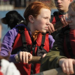 Rockland Middle School seventh-grader Siri Mahonen listens for the commands Tuesday during a 45-minute drill at Station Maine in Rockland.