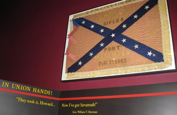 In this Wednesday, March 21, 2012 photo, a Confederate unit flag that belonged to the Emmett Rifles, a Georgia-based company during the Civil War, hangs at Fort McAllister state park in Richmond, Ga., 148 years after the fort fell to Gen. William T. Sherman''s army. The flag was captured by a Union officer who left it to his family with a handwritten request that it be returned to Georgia. His great-grandson, Robert Clayton of Islesboro, Maine, donated the flag to the state park, which plans a dedication ceremony in April.
