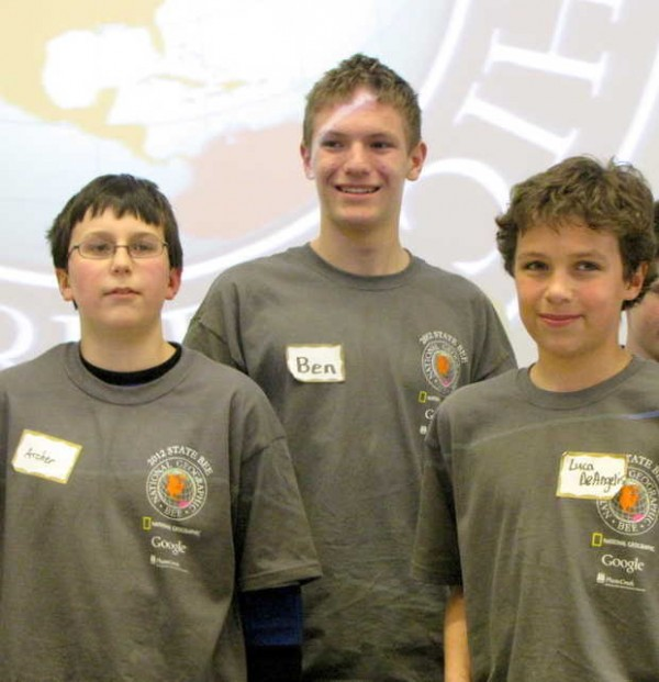 Benjamin Maclean (middle), an eighth-grader from York, is this year's winner of the Maine Geographic Bee. Archer Thomas (left) a seventh-grader from Buxton came in second, and Luca Deangelis (right), an eighth-grader from Readfield came in third.