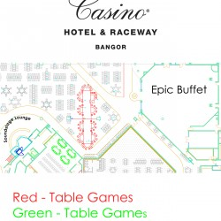 The newly released logo and table games floor plan at Hollywood Casino Hotel & Raceway.