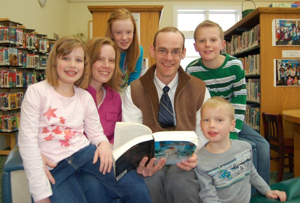 Wade Johnson and his wife, Stephi, are shown at the Rockland Public Library with their children Annika (from left), Bekah, Wyatt and Will.