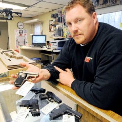 """Handgun and rifle sales are up at G3 Firearms in Turner, owner Chris Jordan said. """"The phone started ringing 20 minutes before the shop opened and within 40 minutes, we were looking for seven different guns that I don't have in the shop,"""" Jordan said."""