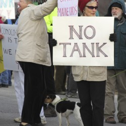 Judy Kaiser, 70, of Waldo, stood in the cold Saturday, Nov. 19, 2011 in Searsport to protest a plan to build a large propane storage tank in town.