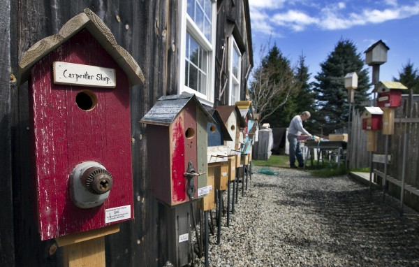 Birdhouses are displayed outside Tony DiPietro's workshop while he sands a recently built birdhouse in the background.