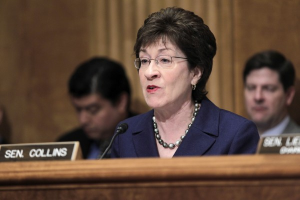 Senate Homeland Security and Governmental Affairs Committee ranking Republican Sen. Susan Collins, R-Maine speaks on Capitol Hill in Washington last year.
