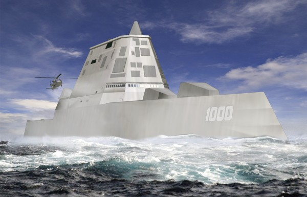 This file image released by Bath Iron Works shows a rendering of the DDG-1000 Zumwalt, the U.S. Navy's next-generation destroyer, which has been funded to be built at Bath Iron Works in Maine and at Northrop Grumman's shipyard in Pascagoula, Miss. (AP Photo/Bath Iron Works, File)