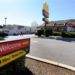 A McDonald's restaurant is pictured in the Milford Mill section of Baltimore County, Md., Monday, April 2, 2012.  Mirlande Wilson, an employee there, claimed she had a winning ticket for the world record-breaking $640 million Mega Millions jackpot.