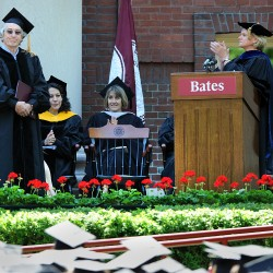 Bates College Interim President Nancy J. Cable (right) applauds Robert De Niro (left) as he is introduced prior to receiving his degree of Honorary Doctor of Fine Arts during Sunday morning's commencement exercises at Bates College in Lewiston, Maine, Sunday, May 27, 2012.
