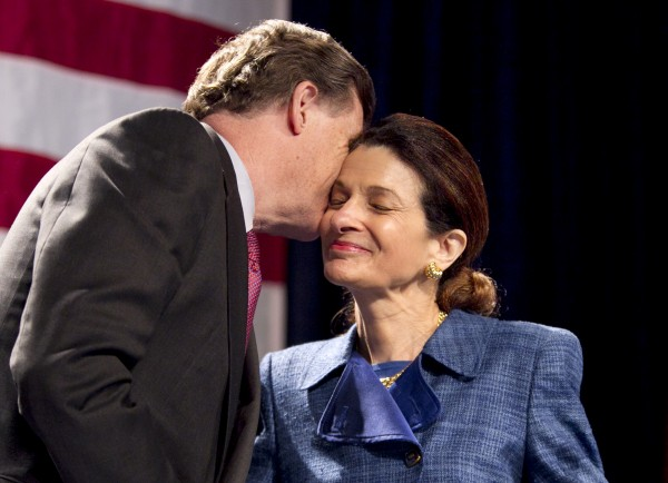 Sen. Olympia Snowe, R-Maine, accepts a kiss from her husband, John McKernan, following her speech at the Maine Republican Convention at the Augusta Civic Center in Augusta, Maine on Sunday, May 6, 2012. Snowe is leaving the Senate this year.