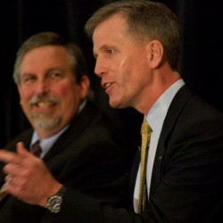 Republican Senate hopeful Charlie Summers gestures while speaking at a candidate forum in South Portland on Wednesday morning May 23, 2012 while fellow hopeful, Maine Attorney General Bill Schneider, smiles.