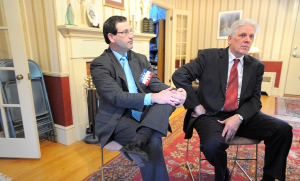 Carroll Conley, executive director, and the Rev. Bob Emrich, chairman of board of directors of the Christian Civic League of Maine, are seen in January 2012.