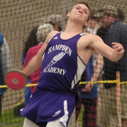 Nick Jesiolowski for Hampden throws the disk for 107.11 at the 2012 PVC Large School Championship Meet in Brewer Friday.