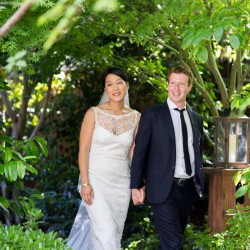 This photo provided by Facebook shows Facebook founder and CEO Mark Zuckerberg and Priscilla Chan at their wedding ceremony in Palo Alto, Calif., Saturday, May 19, 2012.