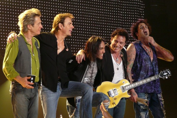 Journey performs in Minneapolis, Minn., in September 2008. Members include Ross Valory (from left), Jonathan Cain, Arnel Pineda, Neal Schon and Deen Castronovo.