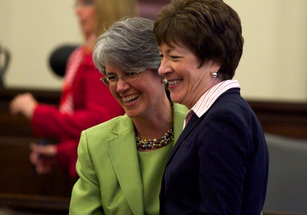 Sen. Susan Collins (right) and Nancy Torrensen hobnob before Torrensen's federal district judge investiture ceremony Thursday, May 3, 2012 in Portland.