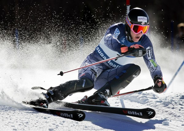 Ted Ligety of Park City, Utah, carves a turn on his way to winning the men's slalom  at the U.S. Alpine Championships Monday at Sugarloaf /USA.