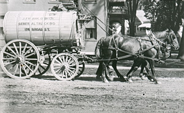 Wagons carrying tanks of water sprinkled the streets of Bangor to keep down the dust.