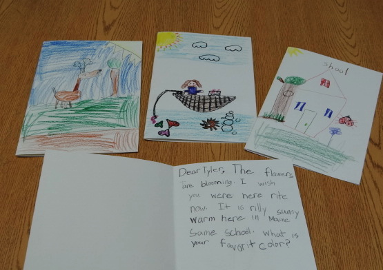 Some of the notes that will be sent from students at Morrill's Gladys Weymouth School to Capt. Tyler Streit in Afghanistan.