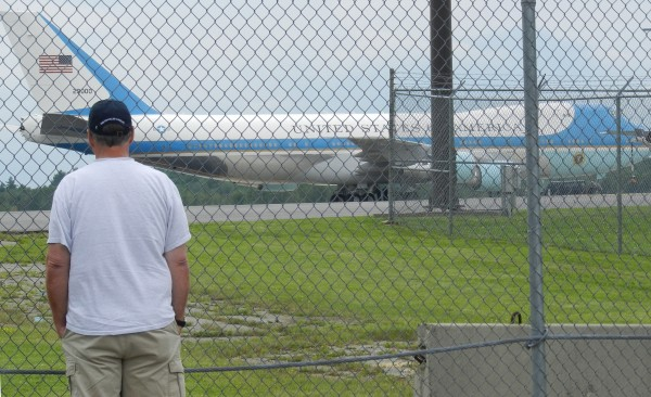 The presidential plane made a stop at Bangor International Airport Monday afternoon, June 25, 2012 after dropping off President Obama in New Hampshire for his campaign event there. After its Bangor stop, Air Force One took off to pick up the president.