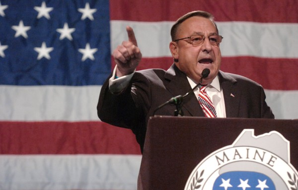 Maine Gov. Paul LePage delivers his speech at the Maine GOP Convention May 6, 2012, at the Augusta Civic Center.