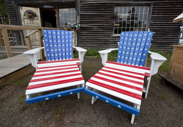 A pair of Adirondack chairs are displayed outside the North of the Border gift Shop in Wiscasset recently.