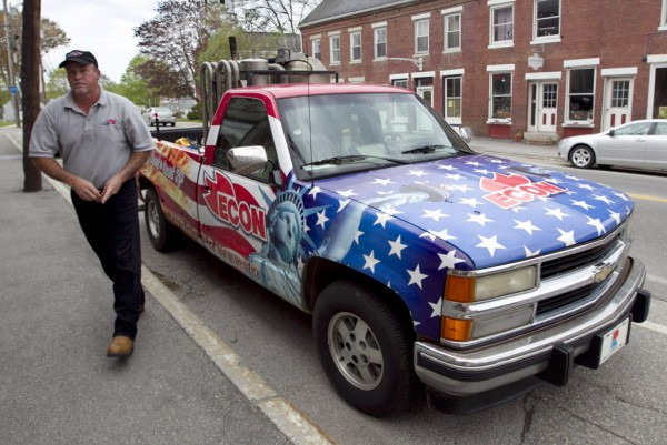 Jeff Smith of Alexander City, Ala., makes a stop in Searsport on his way home on May 14, 2012. The truck is powered by a rear-mounted wood burning engine. Smith was part of a crew that drove the truck from Key West, Fla., to Lubec.
