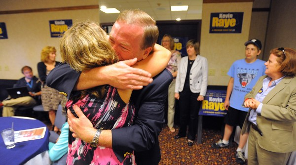 Maine 2nd District Republican candidate Kevin Raye is greeted by supporters at his primary election watch party at the Ramada Inn in Bangor on Tuesday, June 12, 2012.