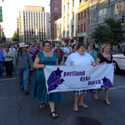 The Dyke March heads up Congress Street in Portland on Friday, June 15, 2012.