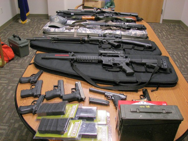 State Police seized a number of guns from Timothy Courtois, 49, of Biddeford after his speeding car was stopped on the Maine Turnpike on Sunday.