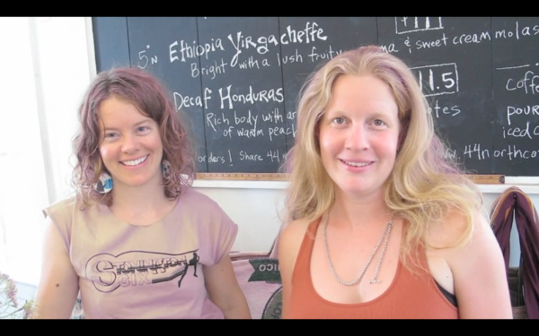Melissa Raftery (left) and Megan Dewey-Wood roast and brew coffee at 44 North Coffee in Deer Isle.