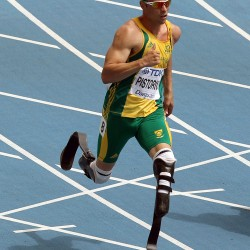 South Africa's Oscar Pistorius competes in a heat of the men's 400-meter at the World Athletics Championships in Daegu, South Korea, on Aug. 28, 2011.