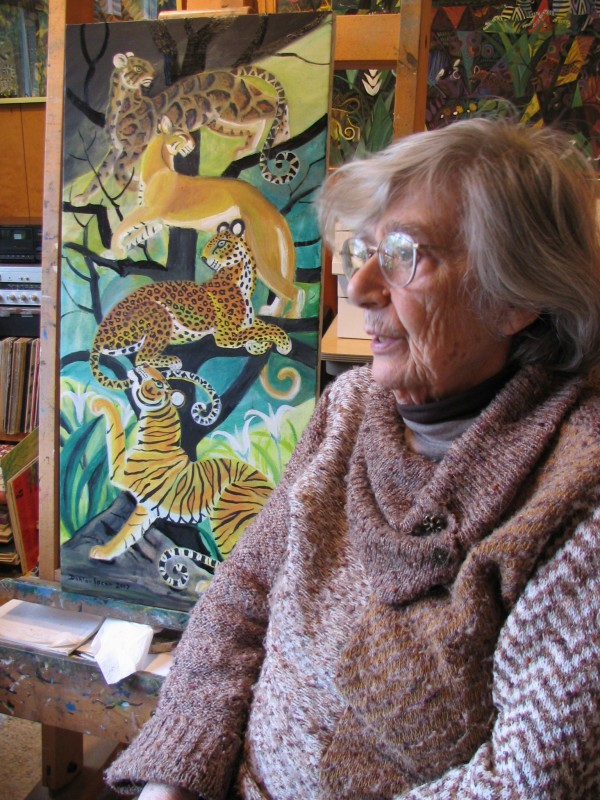 Painter Dahlov Ipcar sits among some of her paintings in her Georgetown studio in June 2007.