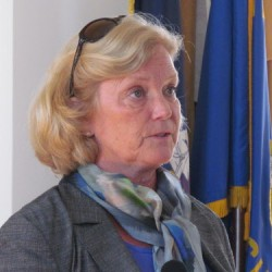 Congresswoman Chellie Pingree discusses the increase in frequency and intensity of rain and snowstorms described in a new Environment Maine report Tuesday, July 31, 2012, during a news conference at Portland City Hall.