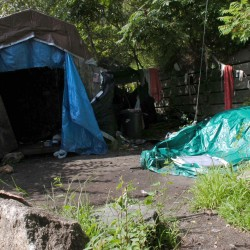 The small, makeshift shack in Bangor where the body of Holly Boutilier, 19, of Old Town was found in August 2009 is situated between the retaining wall of the nearby railroad tracks and the Penobscot River.