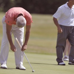 Joe Clark Jr. deflates as his putt on the ninth hole comes just short of the cup during Thursday's first round of the GBO in Bangor, Maine, July 19, 2012.