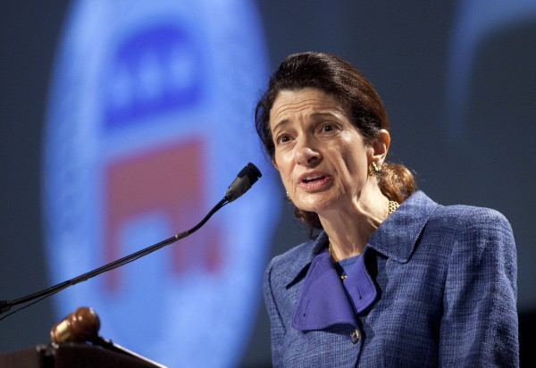 Sen. Olympia Snowe, R-Maine, speaks at the Maine Republican Convention at the Augusta Civic Center in Augusta, Maine, Sunday, May 6, 2012.