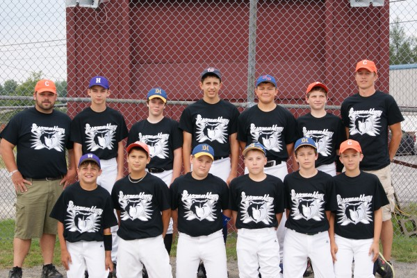 The Black Bear North baseball team is a group of 12-year-olds from Greater Bangor and Hancock and Waldo counties who will be playing a tournament to be held in Cooperstown, N.Y., Aug. 18-24, 2012. They are: (front row, from left) Dylan Stanley, Stefan Simmons, Christian Greener, Zach Nash, Ryan Hoogterp, Bryce Harmon; (back row) coach Cory Schildroth, Casey Sudbeck, Jordan LaFrance, Emmett Shell, Alex McKenney, Taylor Schildroth and head coach James Harmon.
