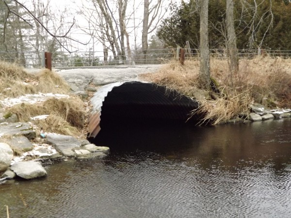 The metal arch under the bridge on the Ripley Road in St. Albans, photographed in January 2012, which connects Indian Pond and Little Indian Pond, is in need of replacement. Residents will be asked at a special town meeting to take funds from an unappropriated surplus account to repair or replace the bridge.