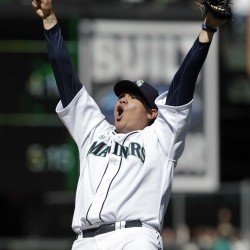 Seattle Mariners pitcher Felix Hernandez reacts after throwing a perfect game to end the ninth inning of baseball game against the Tampa Bay Rays, Wednesday, Aug. 15, 2012, in Seattle. The Mariners won 1-0.
