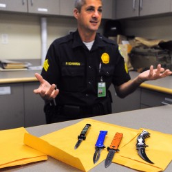 Bangor Police Sgt. Paul Edwards talks about some of the illegal knives that were confiscated by Bagor Police recently. Edwards said that there are several kinds of knives that are illegal in Maine, including ones in which the blade can be opened automatically with the push of a button or with the aid of a spring or other device.
