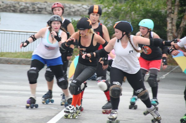 Competition is fierce in Bangor Roller Derby's first exhibition bout, held last Saturday, Aug. 11 at the KahBang Festival in Bangor.