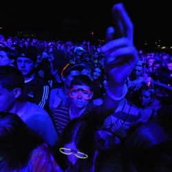 The crowd moves to the digital whirl of light and sounds during Saturday night's KahBang festival on Bangor's waterfront.