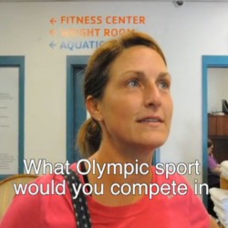 Christine Lally-Kendall of Bangor answers the question, &quotWhat Olympic sport would you compete in?&quot at the Bangor YMCA on Tuesday, Aug. 7, 2012.