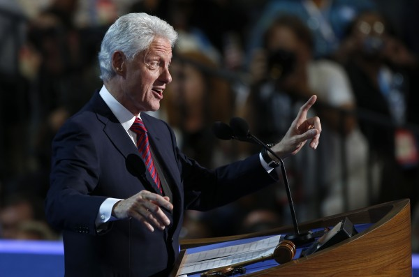 Former President Bill Clinton addresses the Democratic National Convention in Charlotte, N.C., on Wednesday, Sept. 5.